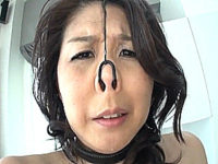 鼻フックで情けない顔を晒し調教される美熟女!吉岡奈々子